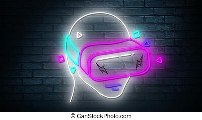 néon, animation, réalité, mur, backgr, virtuel, incandescent...
