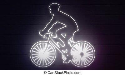 néon, arrière-plan., couverture, décoration, cycliste, mur, réaliste