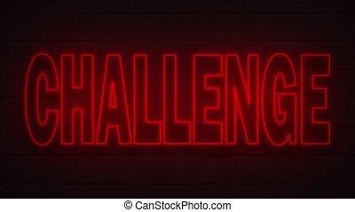 néon, arrière-plan., couverture, décoration, défi, mur, réaliste, écrit