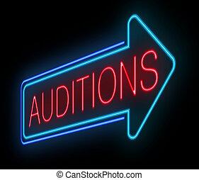 néon, auditions, sinal.