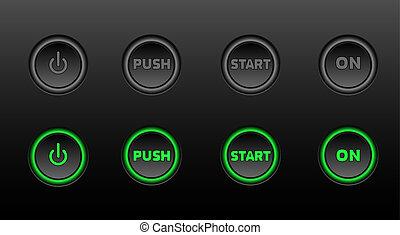 néon, botões, vetorial, ícone, jogo, ligado, pretas,...