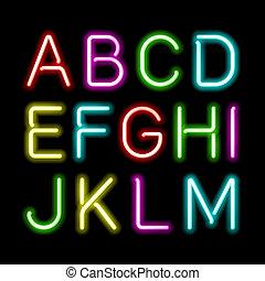néon, brilho, alfabeto