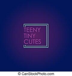 néon, carrée, lumière, conception, cutes, pinky, gabarit, ...