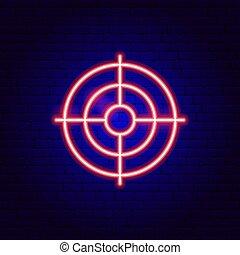 néon, cible, signe