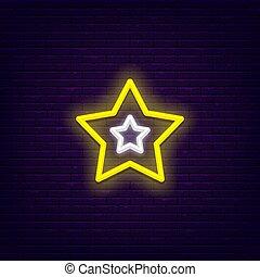 néon, cinq, étoile, point