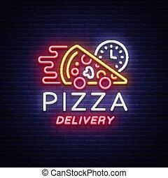 néon, clair, logo, lumineux, style, restaurant, bannière, café, pizza, nourriture, pizzerias, signe., dining., illustration, symbole, livraison, cuisine., lumière, vecteur, publicité, nuit, italien
