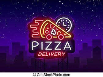 néon, clair, panneau affichage, logo, lumineux, style, restaurant, cuisine, bannière, café, pizza, nourriture, signe., symbole, livraison, illustration., lumière, pizzerias, vecteur, publicité, nuit, italien