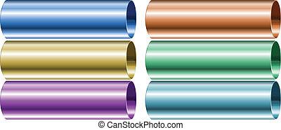 néon, colorido, canos