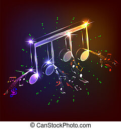 néon, coloridos, notas música