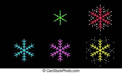 néon, couleurs, différent, flocons neige