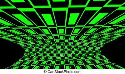 néon, cubes, arrière-plan vert, lumières