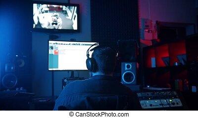 néon, enregistrement, piste, -, homme, studio, ingénieurdu...