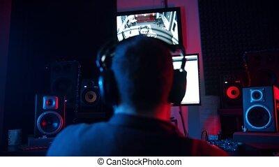 néon, enregistrement, piste, -, homme, studio, son, jeune,...