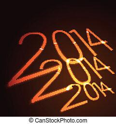 néon, estilo, feliz ano novo