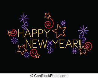 néon, feliz ano novo