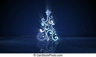 néon, forme, arbre, incandescent, noël