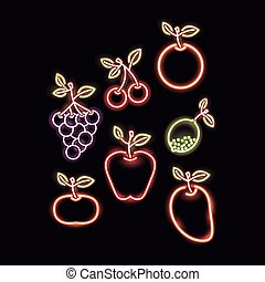 néon, frutas, silueta, ícone
