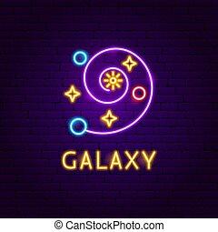 néon, galaxie, étiquette