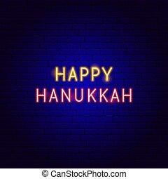 néon, hanukkah, heureux, texte