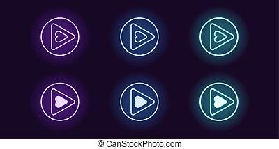 néon, icône, ensemble, de, jeu, button., vecteur, incandescent, signes