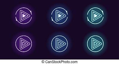 néon, icône, ensemble, de, jeu, button., vecteur, ui, signe