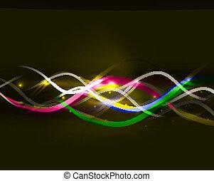 néon, incandescent, lignes, résumé, fond