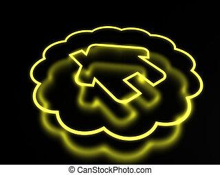 néon, isolé, arrière-plan noir, maison, icône