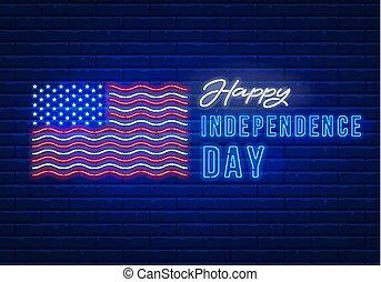 néon, jour, indépendance, signe