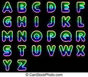 néon, lettres, coloré
