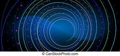 néon, lignes, bleu, incandescent, fond, résumé