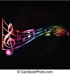 néon, notas música, fundo
