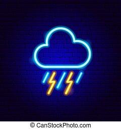 néon, orage, signe
