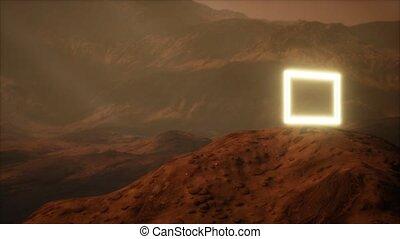 néon, planète, surface, portail, mars, souffler, poussière