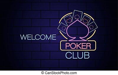 néon, poker, accueil, club, casino, lumière, étiquette, mur