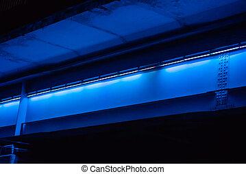 néon, pont, lumières, sous
