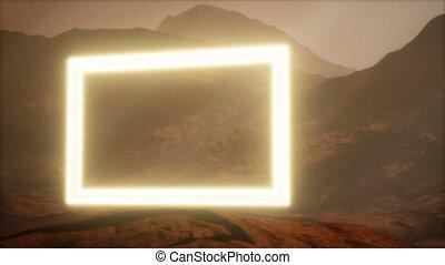 néon, portail, surface, souffler, mars, poussière, planète
