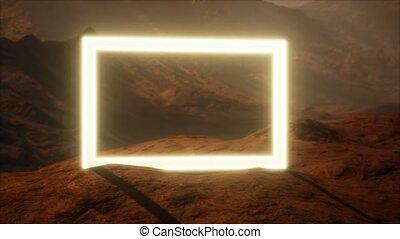 néon, poussière, portail, planète, mars, souffler, surface