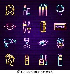 néon, produits de beauté, icônes