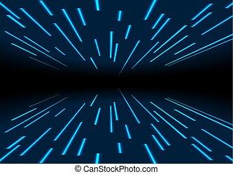 néon, résumé, laser, trace, fond, lignes, bleu