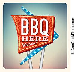 néon, retro, barbecue, signe