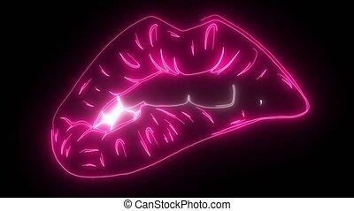 néon, retro, signe., conception, lèvres, élément, day., valentine, heureux