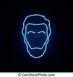 néon, signe., lumière claire, brique, silhouette lincoln, ...
