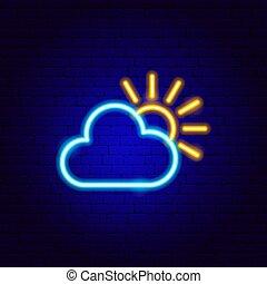 néon, soleil, signe, nuage