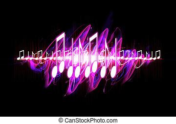 néon, soundwave, notes
