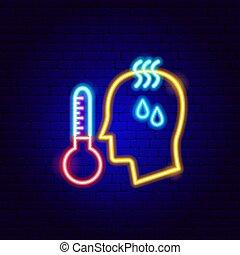 néon, température, élevé, signe, humain