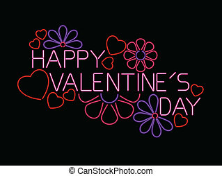 néon, valentine, signe