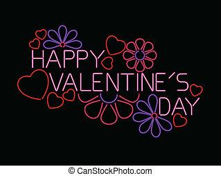 néon, valentine, sinal