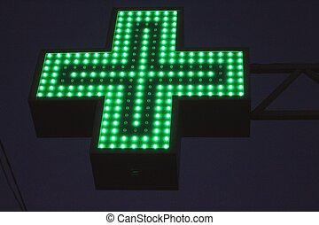 néon, vert, croix, signe