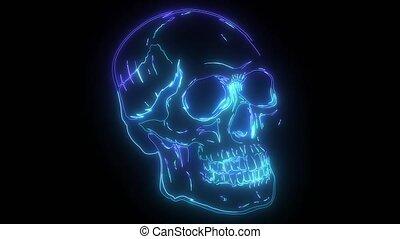 néon, vidéo, crâne, animation, numérique