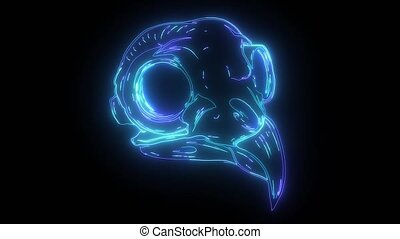 néon, vidéo, crâne, oiseau, bleu, numérique